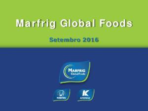 Marfrig Global Foods. Setembro 2016