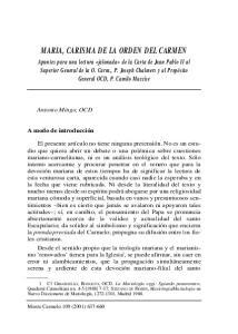 MARIA, CARISMA DE LA ORDEN DEL CARMEN