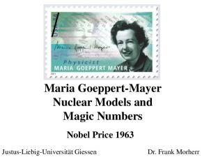 Maria Goeppert-Mayer Nuclear Models and Magic Numbers. Nobel Price 1963