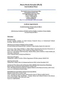 Maria Nicola Nymalm (Ph.D) Curriculum Vitae