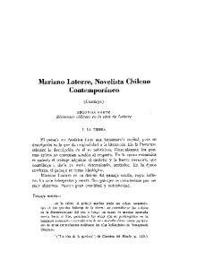 Mariano Latorre, Novelista Chileno Contemporineo