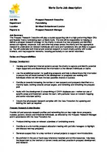 Marie Curie Job description