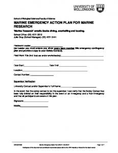 MARINE EMERGENCY ACTION PLAN FOR MARINE RESEARCH