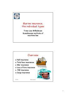 Marine insurance, the individual types