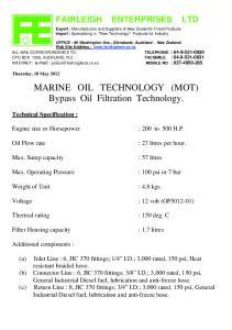 MARINE OIL TECHNOLOGY (MOT) Bypass Oil Filtration Technology