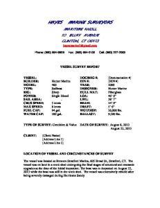 MARINE SURVEYORS MARITIME KNOLL 10 BLUFF AVENUE CLINTON, CT
