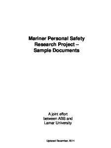 Mariner Personal Safety Research Project Sample Documents
