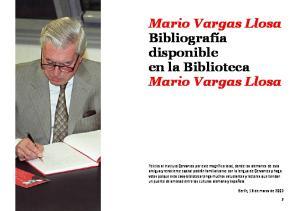 Mario Vargas Llosa Bibliografía disponible en la Biblioteca Mario Vargas Llosa