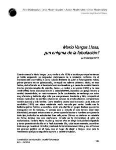 Mario Vargas Llosa, un enigma de la fabulación?