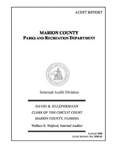 MARION COUNTY PARKS AND RECREATION DEPARTMENT
