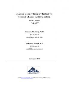 Marion County Reentry Initiative: Second Chance Act Evaluation
