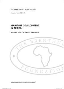 MARITIME DEVELOPMENT IN AFRICA