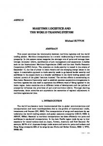 MARITIME LOGISTICS AND THE WORLD TRADING SYSTEM