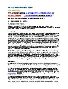 Maritime Security Incident Report