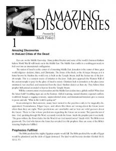 Mark Finley. 1Amazing Discoveries in thelost Cities of the Dead
