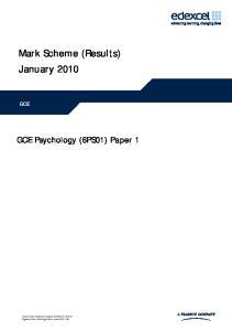 Mark Scheme (Results) January 2010