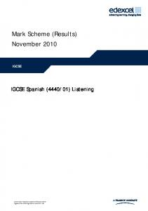 Mark Scheme (Results) November 2010