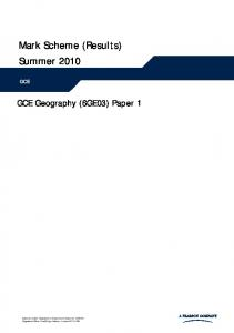 Mark Scheme (Results) Summer 2010
