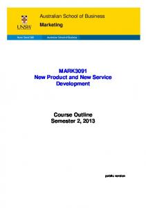 MARK3091 New Product and New Service Development