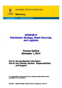MARK5812 Distribution Strategy, Retail Channels, and Logistics