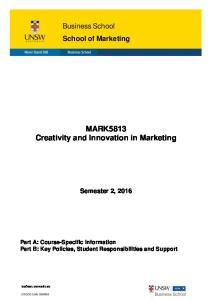 MARK5813 Creativity and Innovation in Marketing