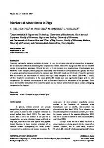 Markers of Acute Stress in Pigs