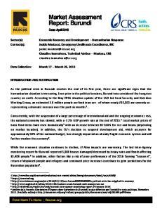 Market Assessment Report: Burundi