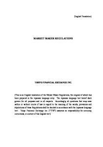 MARKET MAKER REGULATIONS