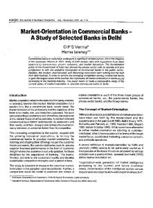 Market-Orientation in Commercial Banks A StudyofSelected Banks in Delhi