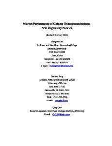 Market Performance of Chinese Telecommunications: New Regulatory Policies