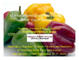 Market Planning and Marketing What You Produce