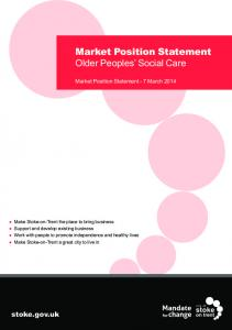 Market Position Statement Older Peoples Social Care