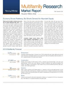 Market Report Third Quarter Houston Metro Area. Economy Shows Resiliency, But Shorts Demand for Abundant Supply