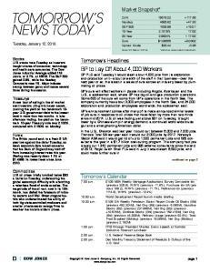 Market Snapshot* Tomorrow s Headlines