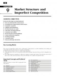Market Structure and. Imperfect competition