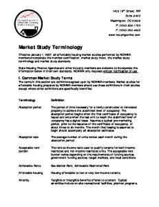 Market Study Terminology