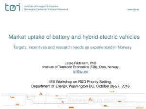 Market uptake of battery and hybrid electric vehicles