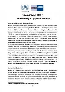 Market Watch 2012 The Machinery & Equipment Industry