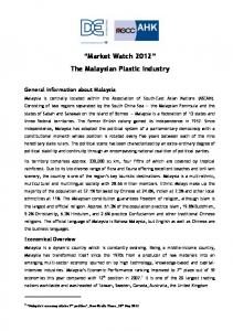 Market Watch 2012 The Malaysian Plastic Industry