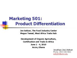 Marketing 501: Product Differentiation