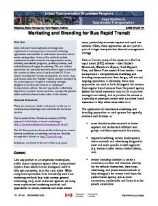 Marketing and Branding for Bus Rapid Transit