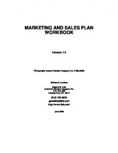 MARKETING AND SALES PLAN WORKBOOK