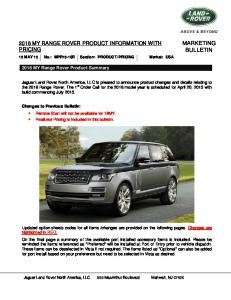 MARKETING BULLETIN 2016 MY RANGE ROVER PRODUCT INFORMATION WITH PRICING MY Range Rover Product Summary