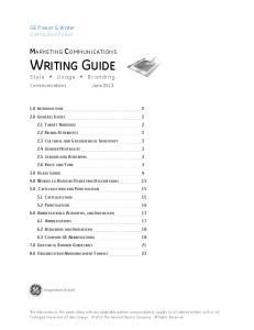 MARKETING COMMUNICATIONS WRITING GUIDE