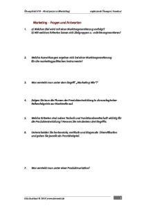 Marketing Fragen und Antworten