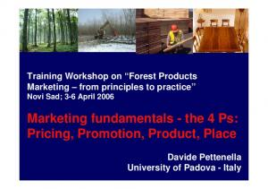 Marketing fundamentals - the 4 Ps: Pricing, Promotion, Product, Place