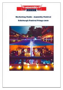 Marketing Guide - Assembly Festival Edinburgh Festival Fringe 2016