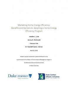 Marketing Home Energy Efficiency: Benefits and Barriers to Adopting a Home Energy Efficiency Program