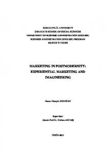 MARKETING IN POSTMODERNITY: EXPERIENTIAL MARKETING AND IMAGINEERING