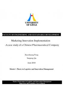 Marketing Innovation Implementation -A case study of a Chinese Pharmaceutical Company